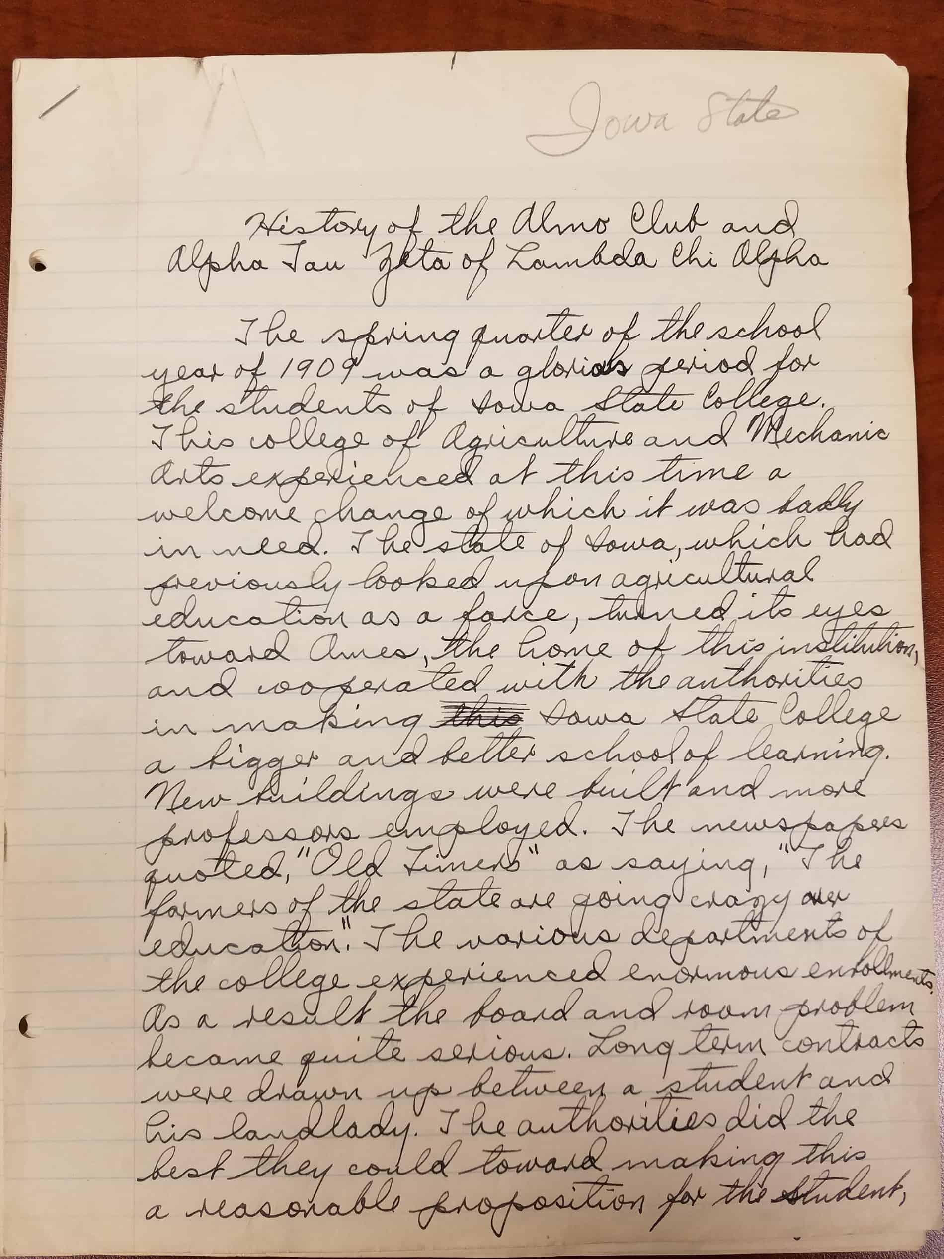 1909 History of Alamo Club