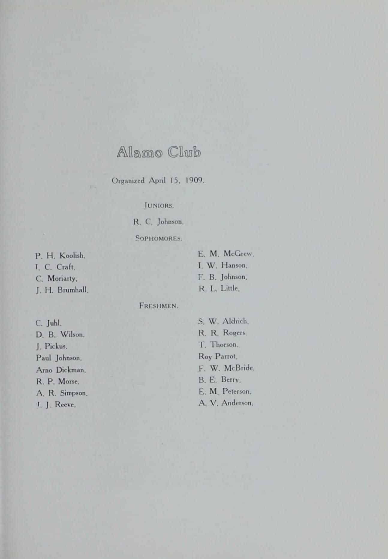 1910 Alamo Club Roster