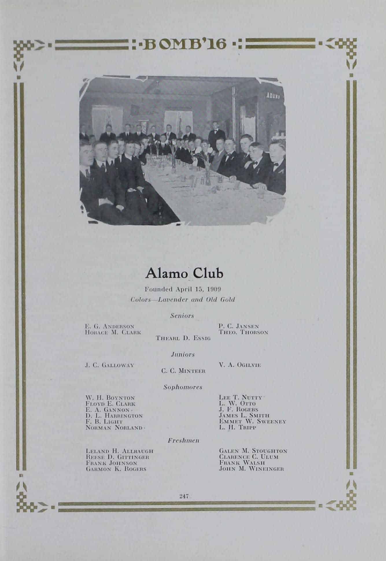 1915 Alamo Club Roster