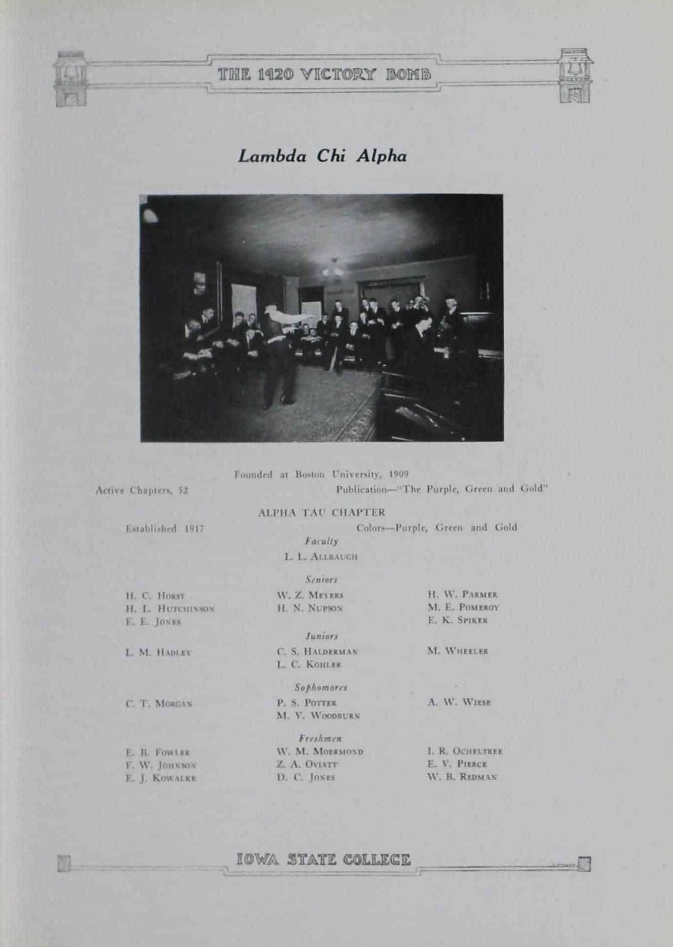 1919 Lambda Chi Alpha Roster