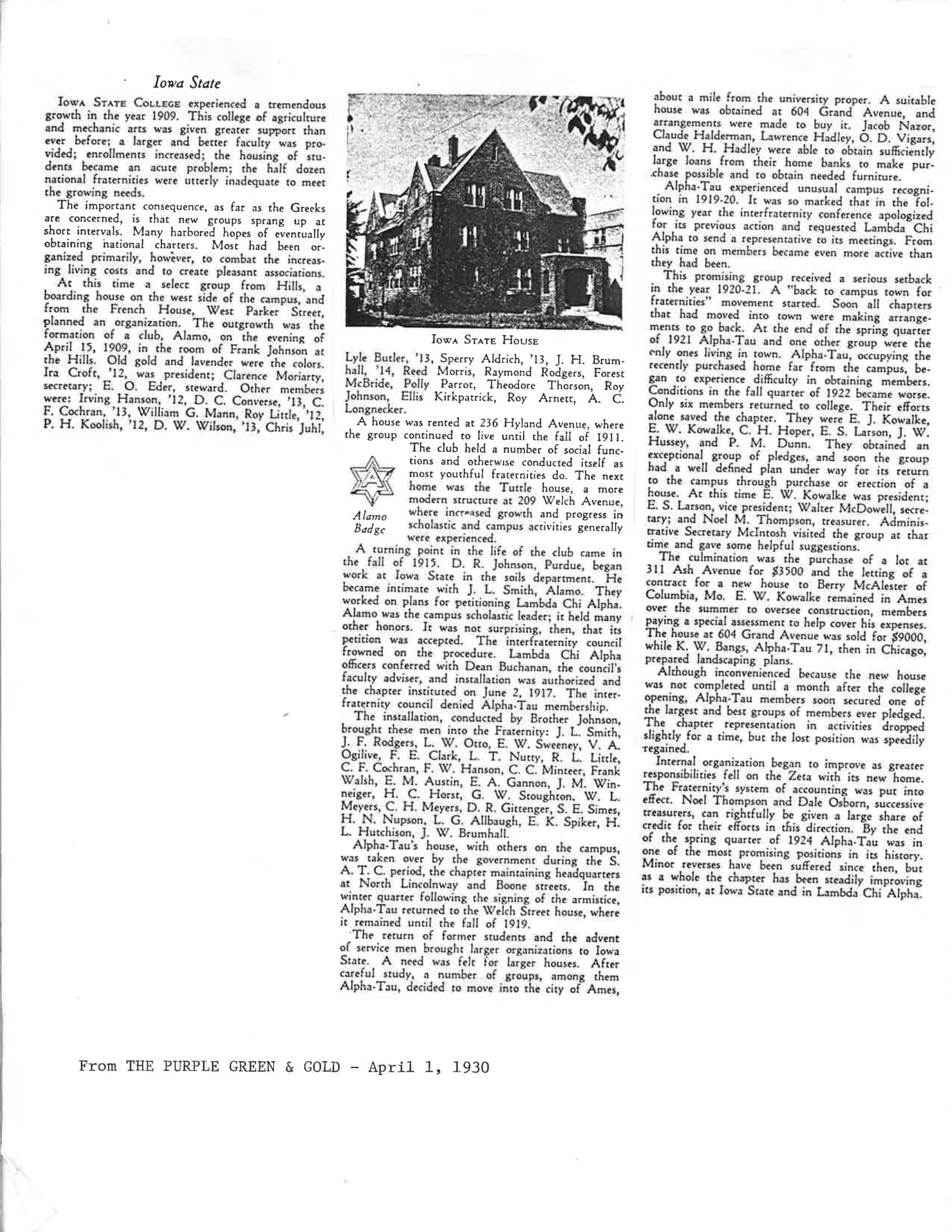1930 Purple, Green and Gold Newsletter
