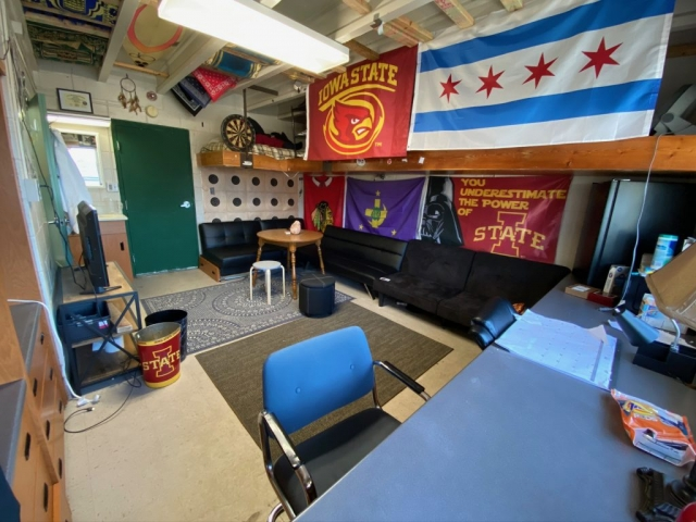 One of Lambda Chi Alpha's 20 suite style rooms. These rooms can house between two or three members depending on the layout and the rooms can be decorated however the occupants see fit. The also feature an in room sink and restroom that joins one room to another.