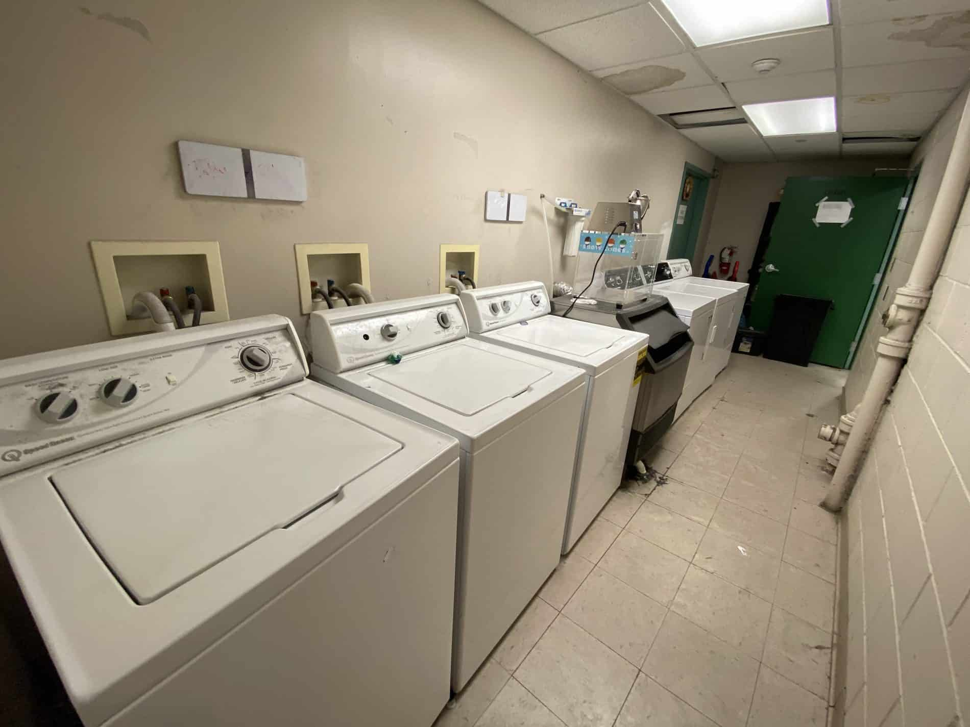 Lambda Chi Alpha's laundry room. It has three washers and three dryers which are open to all members 24/7 as needed.