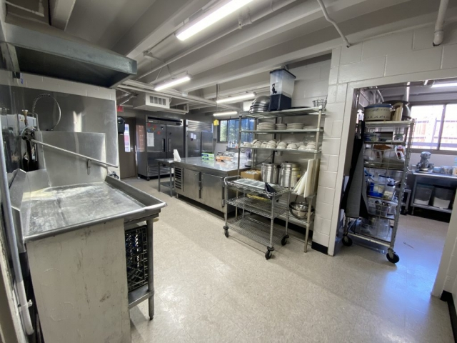 Lambda Chi Alpha's kitchen. The kitchen is open for members 24/7 to make meals as well as store food and clean dishes.