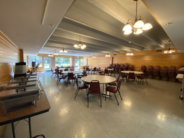 Lambda Chi Alpha's dining room. Along with lunch and dinner, the dining room also holds Lambda Chi Alpha's weekly chapter meetings.